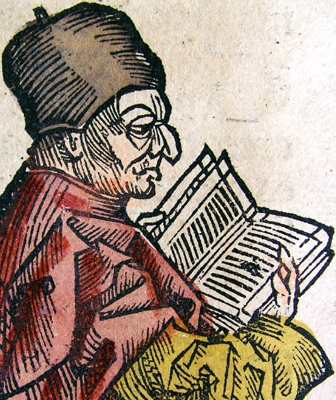 illustration of Saint Bede the Venerable, from the Nuremberg Chronicle, 1493