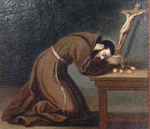 detail from a Saint Bernard of Corleone holy card, artist unknown