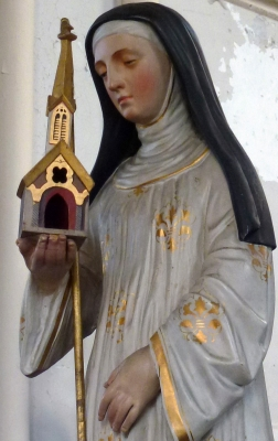 detail of a statue of Saint Bertha of Avenay, date unknown, artist unknown; Auchy-lez-Orchies, France; photographed on 9 July 2013 by Haväng (nl); swiped from Wikimedia Commons