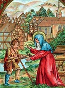 detail of an illustration of Saint Bertha of Bingen greeting her son Saint Rupert of Bingen, date unknown, artist unknown, swiped from Santi e Beati