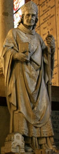 statue of Saint Bertrand de Comminges; date unknown, artist unknown; Basilica of the Immaculate Conception, Lourdes, France; photographed on 15 February 2014 by Jose Luiz; swiped from Wikimedia Commons