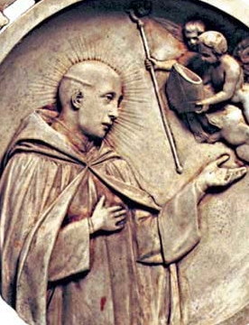 detail of a medallion of Saint Boniface of Canterbury, date and artist unknown; swiped from Santi e Beati