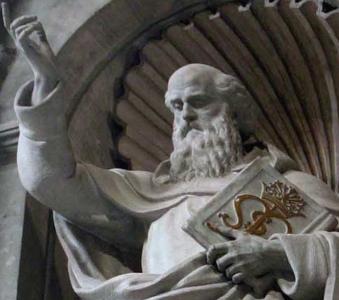 detail of a statue of Saint Buonfiglio Monaldi by Cesare Aureli, 1906; Saint Peter's Basilica, Rome, Italy