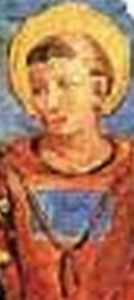 detail from a fifteenth century fresco of the Madonna della Delibera showing an image of Saint Caesarius of Africa