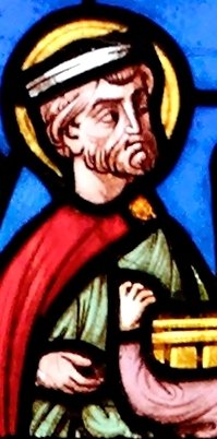detail of a stained glass window of Saint Calminius over-seeing the foundation of an abbey; by Félix Gaudin; abbey-church in Mozac, Auvergne, France; photographed on 30 June 2007 by Marie-Lan Nguyen; swiped from Wikimedia Commons
