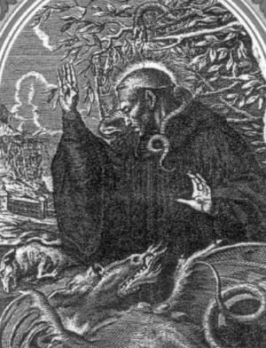 detail of an antique holy card of Saint Calupan