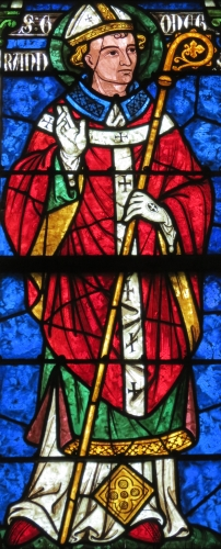 detail of a stained glass window of Saint Chrodegang of Seez; date unknown, artist unknown; Saint Godegrand chapel, Cathedral of Seez, France; photographed on 19 August 2012 by Giogo; swiped from Wikimedia Commons
