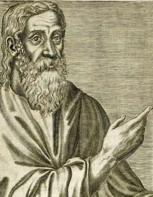 illustration of Saint Clement of Alexandria from  Les vrais pourtraits et vies des hommes illustres grecz, latins et payens (1584) by André Thevet; swiped from Wikimedia Commons