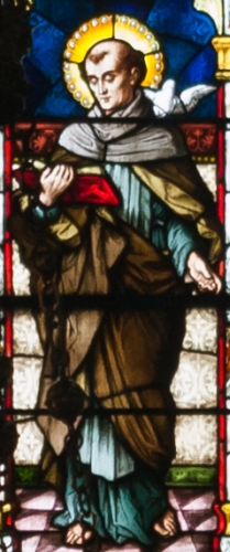 detail of a stained glass window depicting Saint Columba, created c.1900 by Meyer and Co; Cathedral of Saint Eugene, Derry, Northern Ireland; photographed on 17 September 2013 by Andreas F Borchert; swiped from Wikimedia Commons