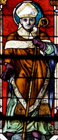 detail of a stained class window of Saint Conogan of Quimper; date unknown, artist unknown; Saint Corentin Cathedral, Quimper, Brittany, France; photographed on 27 July 2013 by Thesupermat; swiped from Wikimedia Commons