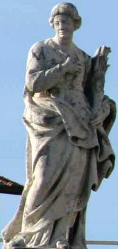 statue of Saint Constantia of Nocera by Sillano Sillani, c.1703; colonnade of Saint Peter's Basilica, Rome, Italy