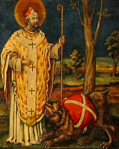 illustration of Saint Corbinian commanding the bear to carry his luggage, date and artist unknown; from a panel in the crypt of the cathedral in Freising, Germany; photographed on 3 April 2006 by Mark Somoza; swiped from Wikimedia Commons