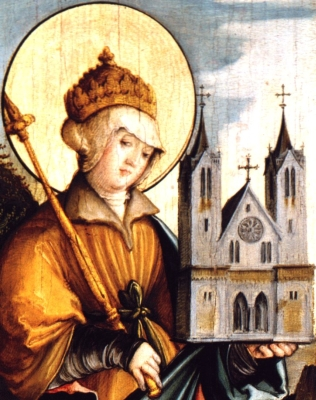 detail of a painting of Saint Cunegundes, c.1535, by Master of Meßkirch; side altars of Saint Martin's Church, Meßkircher, Germany; currently in the Staatsgalerie, Stuttgart, Germany; swiped from Wikimedia Commons