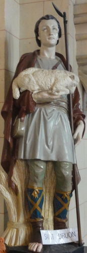 statue of Saint Drogo, date and artist unknown; church of Saint-Druon de Sebourg, France; photographed on 18 September 2016 by Chatsam; swiped from Wikimedia Commons