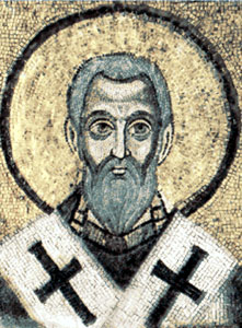 detail of a mosaic of Saint Epiphanius of Salamis in the Cathedral of Saint Sophia in Kyiv, Ukraine, photographer unknown, artist unknown