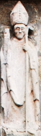 statue of San Epitacio; date unknown, artist unknown; Tui Cathedral, Galicia, Spain; photographed on 25 August 2011 by HombreDHojalata; swiped from Wikimedia Commons