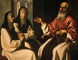 detail from 'Saint Jerome with Saint Paula and Saint Eustochium', c.1645 by Francisco de Zurbaran; Samuel H Kress Collection, National Gallery of Art