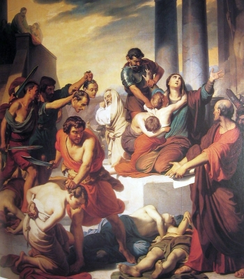 the painting 'The Martyrdom of Saint Felicity and Her Seven Sons'; Francesco Coghetti, 19th century; parish church in Ranica, Bergamo, Italy; photographed on 15 December 2007 by Ago76; swiped from Wikimedia Commons