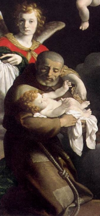 detail of the painting 'The Vision of St Felix of Cantalice'; by Carlo Ceresa, 1644; church of San Giorgio Martire, Nese, Italy; Web Gallery of Art; swiped from Wikimedia Commons