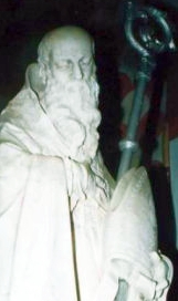detail of a statue of Saint Fidentius of Padua; photographed on 12 November 2007 by Samsf; swiped from Wikimedia Commons