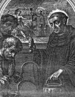 Saint Fintan of Doon; the image depicts the miracle of the instantly growing wheat