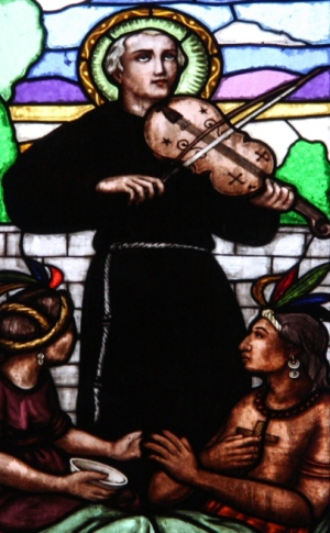 detail of a stained glass window of Saint Francis Solano; date unknown, artist unknown; Templo del Hospital, Acámbaro, Estado de Guanajuato, México; photographed on 22 September 2012 by Enrique López-Tamayo Biosca; swiped from Wikimedia Commons