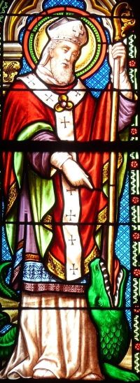detail of a stained glass window depicting Saint Front; date unknown, artist unknown; nave of the church of Saint-Germain-de-Paris, Saint-Germain-de-Belvès, Dordogne, France; photographed on 13 April 2014 by Father Igor; swiped from Wikimedia Commons