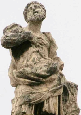 detail of a statue of Saint Gallicanus on the colonnade of Saint Peter's Basilica, Rome, Italy; artist unknown