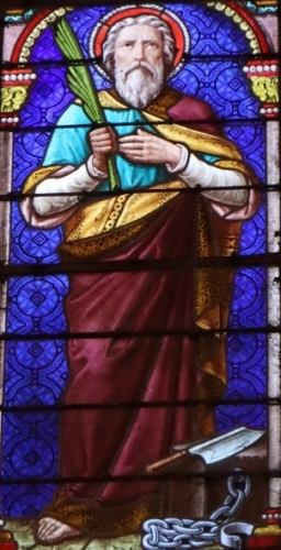 detail of a stained glass window of Saint Gentien, date and artist unknown; Saint-Gentien church, Pluherlin, France; photographed on 8 September 2018 by GO69; swiped from Wikimedia Commons