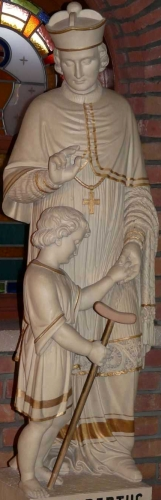 sculpture of Saint Gilbert of Sempringham, date and artist unknown; Essen, Belgium; photographed in July 2006 by Bocachete; swiped from Wikimedia Commons