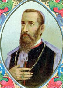 detail from an Italian holy card of Saint Justin