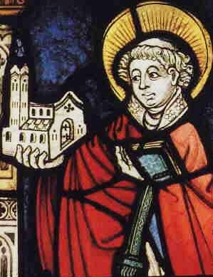 detail of a stained glass window of Saint Goar of Acquitaine; c.1450, artist unknown; Collegiate Church of Saint Goar am Rhein, Germany; swiped from Wikimedia Commons
