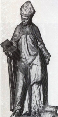 statue of Saint Goéry with the crown of the Counts of Aquitaine at his feet; 18th century, artist unknown; church of Saint-Maurice d'épinal, Vosges, France; swiped from Wikimedia Commons