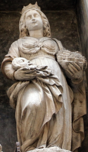 statue of Saint Grata of Bergamo, exterior of the Church of Saint Grata in Columnellis, Bergamo, Italy; photographed on 25 May 2014 by Sailko; swiped from Wikimedia Commons