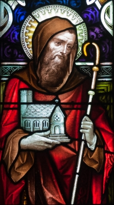 detail of a stained glass window of Saint Grellan, date and artist unknown; left light of the sixth window in the north aisle, Saint Michael's Church, Ballinasloe, County Galway, Ireland; photographed on 15 September 2010 by Andreas F. Borchert; swiped from Wikimedia Commons