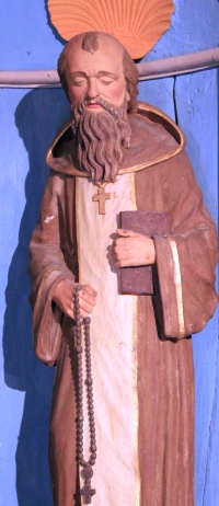 statue of Saint Gerin; date unknown, artist unknown; Notre-Dame-de-la-Clarity, Locadour, Kervignac, France; photographed on 14 September 2013 by XIIIfromTOKYO; swiped from Wikimedia Commons