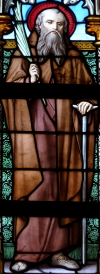 detail of a stained glass window of Saint Helier; date unknown, artist unknown; Basilica of Our Lady, Tongeren, Limburg, Belgium; photographed on 11 October 2012 by GFreihalter; swiped from Wikimedia Commons