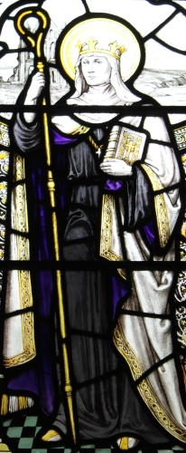 detail of stained glass window of Saint Hilda at the cloister of the cathedral of Chester, England; date and artist unknown; photographed on 31 July 2014 by Mum's taxi; swiped from Wikimedia Commons