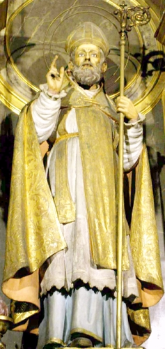 statue of Saint Honoratus of Arles, date and artist unknown; Basílica de la Mercè, Barcelona, Spain; photographed on 14 May 2016 by Zarateman; swiped from Wikimedia Commons