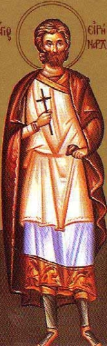 detail of an illustration of Saint Irenarcus, date and artist unknown; swiped from Santi e Beati