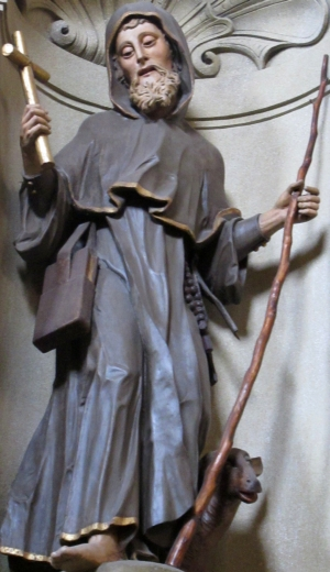 statue of Saint Ivan the Hermit; date and artist unknown; church of Saint John of Nepomuk, Hus, Kutna Hora, Czech Republic; photographed on 22 June 2014 Hadonos; swiped from Wikimedia Commons