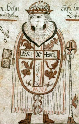 Saint Jón Helgi Ögmundarson, from a 19th century Icelandic manuscript, Icelandic National Library