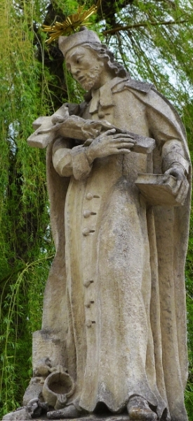 statue of Saint Jan Sarkander; c.1869, artist unknown; Saint John of Nepomuk and Blessed Jana Sarkander bridge, Rokytka, Smetana, Peroutka, Moravian Budejovice, Czech Republic; photographed on 21 April 2014 by Koutne1; swiped from Wikimedia Commons