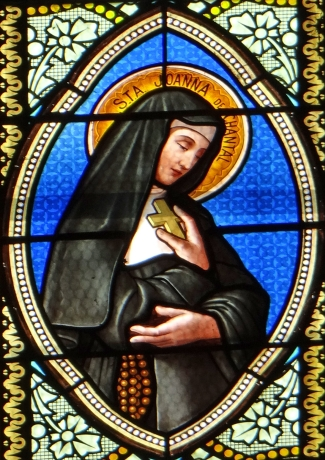 detail of a stained glass window of Saint Jeanne de Chantal, church of Saint Martin, Cahuzac, France; date and artist unknown; swiped from Wikimedia Commons