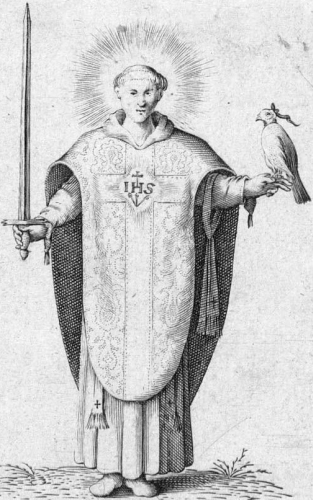 illustration of Saint Jeroen of Noordwijk, artist unknown, c.1750; swiped from Wikimedia Commons