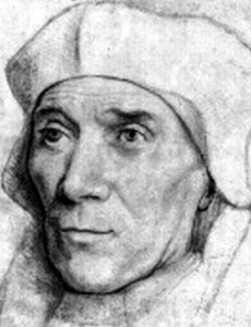 illustration of Saint John Fisher based on a painting by Hans Holsbien
