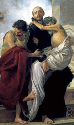 detail from a painting of Saint John of God saving sick people from a fire at the royal hospital, by Manuel Gomez-Moreno Gonzalez, 1880; Museo de Bellas Artres, Granada, Spain; swiped from Wikimedia Commons; click for source image