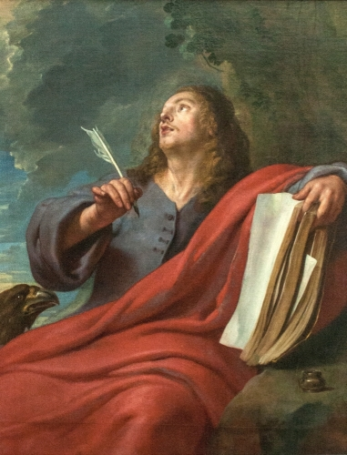 painting of Saint John of Patmos; oil on canvas, 17th century, by Gaspar de Crayer; Museum of Fine Arts, Ghent, Belgium; photographed on 11 October 2008 by Szilas; swiped from Wikimedia Commons