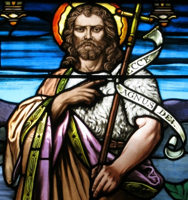detail of a stained glass window of Saint John the Baptist, date and artist unknown; Church of Saint Paul, Yellow Springs, Ohio; photographed on 24 December 2015 by Nheyob; swiped from Wikimedia Commons