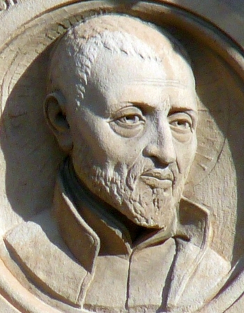 detail of a bas-relief of San José de Calasanz; date and artist unknown; school of Gascón y Marín, Zaragoza, Spain; photographed on 27 December 2009 by Ecelan; swiped from Wikimedia Commons
